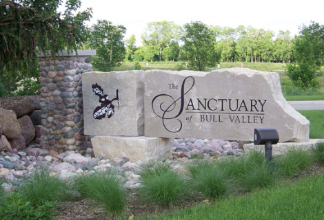 Roslin Homes | The Sanctuary of Bull Valley | Bull Valley, IL |Entrance Monument