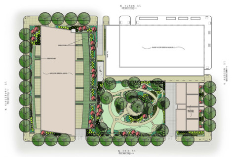 M & R Development | Parc Huron | Chicago, IL |Residential Development with Park & Green Roof Terraces